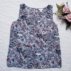 LOFT Pleated Neckline Sleeveless Floral Blouse L